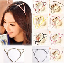 Women Lady Girls Cat Ears Headband Hair Sexy Head Band Self Photo Prop 6 Colors hair accessories free shipping(China)