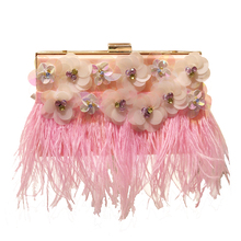 2017 Luxury Brand Diamond Flower Acrylic Women Evening Clutch Bags pink feather design ladies Shoulder Bags with Pearl handle
