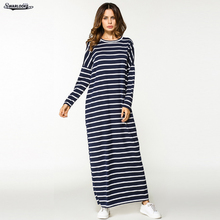 2017 Autumn New Arrival Fashion Middle East Clothing Full Sleeve Striped Knitting Casual Maxi O-Neck Long Robe Muslim Dress(China)