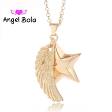 Angel Bola 28mm Pryme Angel Wings Gift Five-pointed Star Shape Sound Music Engelsrufer Necklace Pendant For Women Baby L047(China)