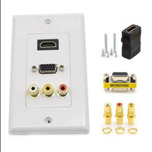 5 Ports HDMI VGA 3RCA AV Composite Audio Video HD TV Wall Socket Outlet Adapter