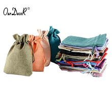 Retail 2 Size Pouch linen Hessian hemp Jute drawstring small gift packaging Bag Wedding ring necklace jewelry (50pcs/lot)(China)