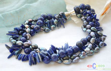 "100% Selling Picture full new 4row 19"" black rice pearl blue lapis lazuli necklace"