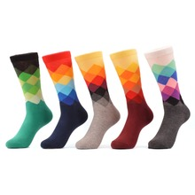WARBOYS 5 pair Happy Socks Cotton Brand Harajuku Men Socks Colorful Dress Knit Long Funny Socks Wedding Gifts US Size (7.5-12)