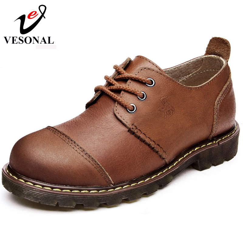 VESONAL Hot Sale 2017 Genuine Leather Brand Tooling Casual Shoes Men High Quality Footwear Man Shoes Comfortable Soft Walking<br>
