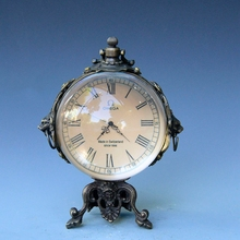 Antique Antique Old Goods Old Stuff Brass Crystal Ball Mechanical Alarm Clock Clock Home Decoration(China)