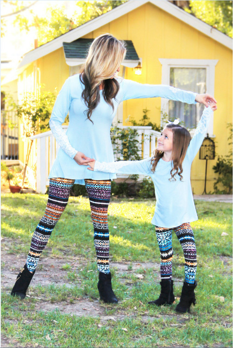 Matching Mother And Daughter Clothes Family Look Matching Pants Outfits Mommy And Me Kids Girls Women Leggings Suit Clothing (30)