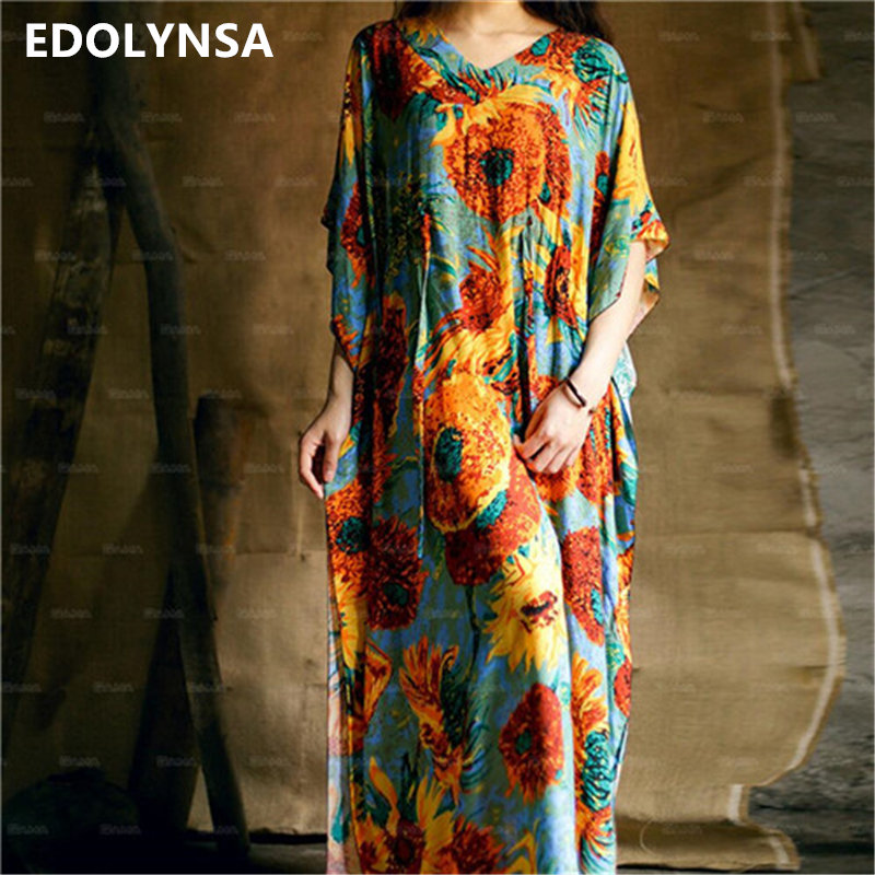 2017 Bohemian Beach Kaftan Ethnic Cotton Rayon Maxi Dress Women Vintage V-neck Tunic Boho Casual Floral Printed Long Dress #A175(China)
