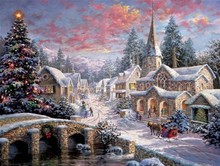 Needlework Crafts 14CT Counted Unprinted For Embroidery The Snow Scenery Village Christmas DMC DIY Quality Cross Stitch Kits Art