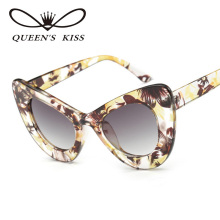QUEENS KISS Flowers Cat Eye Women Sunglasses Driving Retro Thick Frame Eyewear Fashion Brand Designer Oculos For Female Q1777(China)