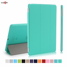 Para a apple ipad air 1 smart cover couro pu magnet wake-up do sono com transparente matte plástico de volta case suporte flip