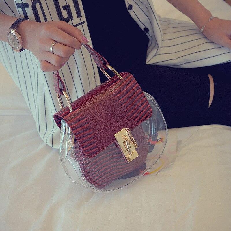 2017 New Hot Fashion Female Women Crocodile Pattern Chains Clear Jelly Hasp Flap Bag Casual Handbags Shoulder Bags Messenger Bag<br><br>Aliexpress