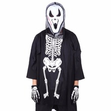 Unisex Child Halloween Cosplay Costumes Ghost Gloves Terror Skeleton Clothing Suit Skull Cotton Loose Child Tops With Pocket