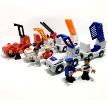 free shipping sound and light of magnetic train car ambulance police car fire truck compatible Thomas wood track Children's(China)
