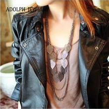 ADOLPH Jewelry For Women Fashion Accessories New Design Alloy Multi-layers Vintage Stray Leaves Necklace