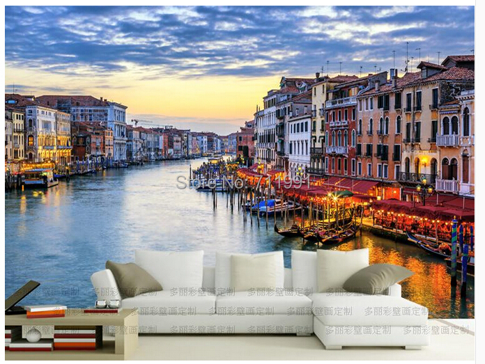 Free shipping custom modern 3D wallpaper water Venice night TV setting wall of sitting room sofa background wallpaper<br><br>Aliexpress