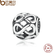 Authentic 925 Sterling Silver Knot Infinity SHINE CHARM Fit Bracelet Necklace for Women Beads & Jewelry Making PAS305(China)