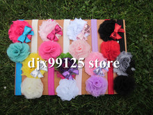 "Children's Fashion Hair Accessories Baby Headbands with 2.5"" Shabby Frayed Flowers With Embroidered Sequin Bows 24pcs/lot"