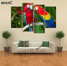 4 Pieces Modern Wall Art framed Canvas Prints Couple Parrot Paintings Bird Painting for Bedroom Wall Decoration(Hong Kong)