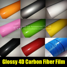 car styling bright 4D black white Carbon Fiber Vinyl film Colored Glossy Carbon Fiber Vinyl Film Auto Wrapping Vinyl Wrap Foil(China)