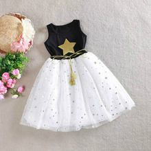 2017 Summer Baby girls dress Five-pointed star Princess dress belt Beach tutu dress Party dresses large size 2-11Y(China)