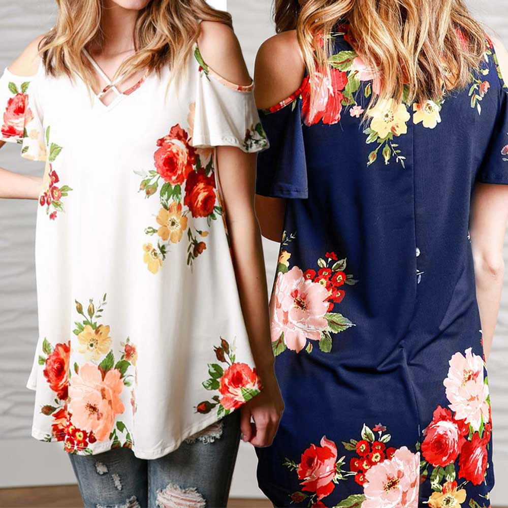 New 2018 Spring Summer Tops Women Short Sleeve Sexy Casual T-shirt Print Slim Off Shoulder T-shirt Flowers Print Tops T-shirt 5