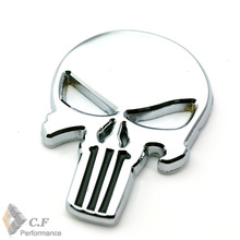Metal Body Emblem Car Motorcycle 3D silver Auto THE  Punisher skull Skeleton Rear Badge for Spark Patriot Fabia Yeti