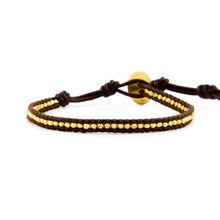 vermeil on brown leather with same button charm jewelry Wrap Bracelet on Leather