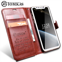 TOMKAS Case For iPhone X iPhoneX Wallet Cover Flip Style PU Leather Phone Bag Case For iPhone X Coque With Card Holder Kickstand
