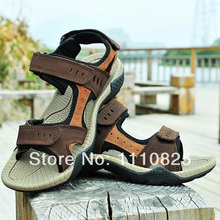Free shipping summer men's leather breathable sandals athletic beach shoes, black Coffee brown color optional
