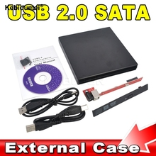 Kebidumei Newest Wholesale Store Portable Slim USB 2.0 DVD CD DVD-Rom SATA External Case for Laptop Notebook Computer