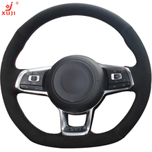 XUJI DIY Hand-stitched Black Suede Car Steering Wheel Cover for Volkswagen Golf 7 GTI Golf R MK7 VW Polo GTI Scirocco 2015 2016(China)