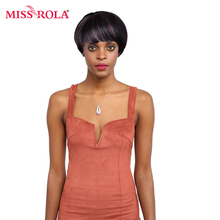 "Miss Rola Hair Straight Wigs Remy 100% Human Hair Pre-Colored 1B/33 Average Short Lace Wigs 65 g 1.75""-7""(China)"