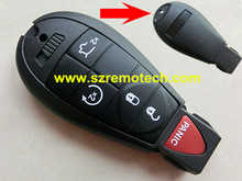 Free Shipping 4+Panic button Remote Key Shell Smart Key Blank Y160 Emergency key blade Fit For Chrysler Dodge Jeep
