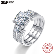 JQUEEN 925 Sterling Silver Rings 3Carat 8*8mm Gemstone Jewelry S925 Silver Wedding Ring Set With Gift Box For women