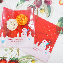 Wholesale! 10pc Christmas Snowman Self-adhesive Bag West Point Bag Plastic Biscuit Bag Food Packaging Free Shipping