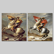 Retro Europe style Horseback Emperor Napoleon Cloak living room decoration canvas painting wall art pictures home decor unframed(China)