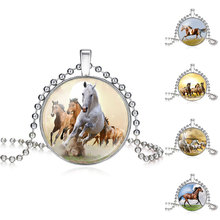 Girls Running Horse Painting Necklace Women Horse Necklace Pendant Statement Glass Cabochon Necklaces Jewelry Gift 620166(China)