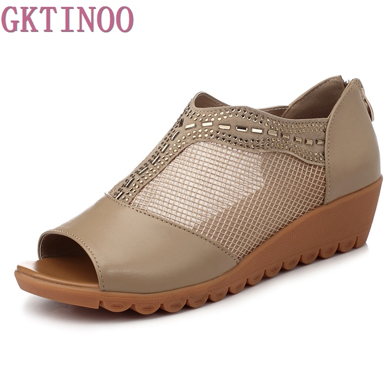 2018 Fashion Summer Womens Sandals Casual Mesh Breathable Shoes Genuine Leather Women Ladies Wedges Sandals Large Size<br>