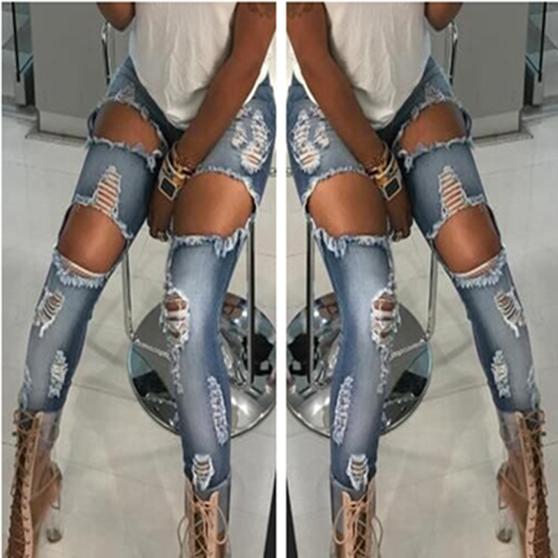 New 2017 High Waist Jeans Ladies Denim Pants Stretch Womens Bleach Ripped Jeans Skinny Jeans Denim Jeans For Fashion Female