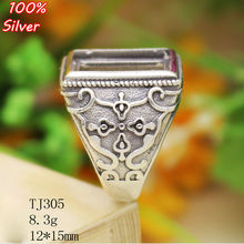 100% sterling silver 925 jewelry 12*15mm Adjustable Ring for man Tray Setting Square Stone Antique Silver Classical(China)