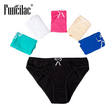Buy FUNCILAC Sexy Lace Women Lingerie Briefs Underwear Seamless Panties Cotton Panty Ladies Knickers Underpants 5pcs/lot