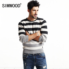 2016  SIMWOOD Brand clothing fashion sweater men striped pullovers 100% cotton contrast color christmas sweater  MY2025