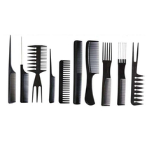 New Good Quality 10Pcs Hair Combs Black Pro Salon Hair Styling Hairdressing Plastic Barbers Combs Set