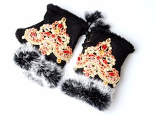 Luva Women Opera Gloves Ethnic Embroidery Half finger Gloves Rabbit fur Gloves For Woman guard Dress gloves(China)
