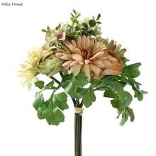1 Bunch Silk Artificial Flower Green Gerbera Celebrations Garden Home Public places Festival Party Decor