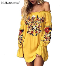 Buy M.H.Artemis Summer new fashion Embroidery short dress Boho Chic Women Beach wear 2017 New Slit Vestidos de lantern sleeve for $17.88 in AliExpress store