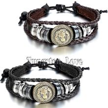 2015 Europe Punk Hand Made Braided Charm Bracelet Bangles Gold Lion Head Wristband Cuff Leather Bracelet For Men Adjustable
