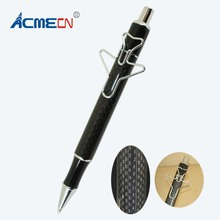 ACMECN Cute Writing Instrument Unique Design Metal Black Carbon Fiber Ball Pen Propelling with Plane Shaped Clip Ballpoint Pens
