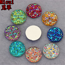 Micui 100PCS 16MM AB Color Crystal Round flatback Resin Rhinestones Stone Beads Scrapbooking crafts Jewelry Accessories ZZ32